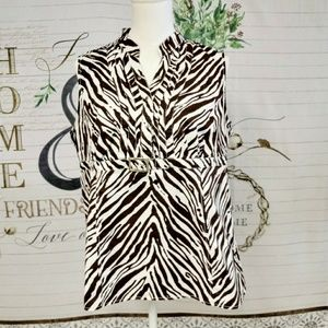 Cato Brand Brown Zebra Print sleeveless Top